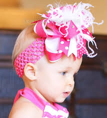 baby bow headbands white and shocking pink polka the top hair bow or