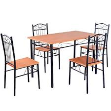 amazon kitchen furniture amazon com tangkula steel frame dining set table and chairs