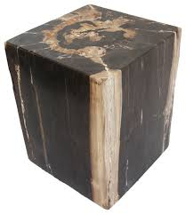 Wood Block Side Table Square Petrified Wood Side Table Transitional Side Tables And
