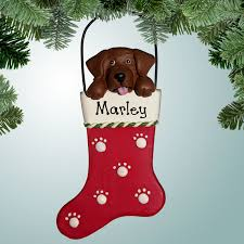 pets dogs christmas ornaments chocolate lab in stocking