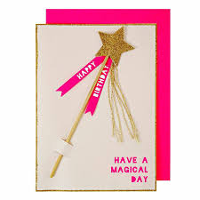 detachable glitter star magic wand birthday card by little baby