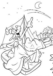 goofy coloring pages camping with donald duck cartoon coloring