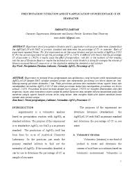 research article of precipitation titration and its application by