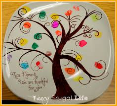 My 1st Thanksgiving Finger Print Tree Plate Kids Fall Thanksgiving Party