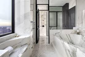 Statuario Marble Bathroom New York City Bathroom Contemporary With Integrated Bathtub Mosaic
