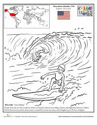 hawaii surfing coloring hawaii worksheets geography