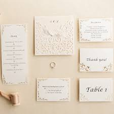 sle rsvp cards ivory laser cut pocket ribon bow invites with matching enclosure