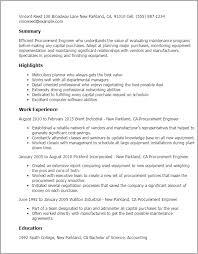 procurement resume nuclear procurement engineer sle resume 18 templates cost