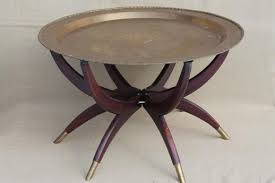 removable tray top table vintage hong kong brass tray table folding wood stand w removable
