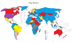 map of countries by flag ratio vexillology