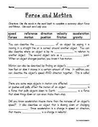 8th grade science forces activities with additional worksheet with