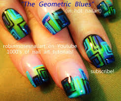nail art green and blue geometric design tutorial youtube