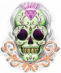 sugar skull on fire tattoo design
