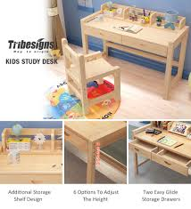 tribesigns kids study desk and chair set with hutch height