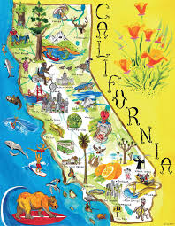 Fort Bragg Map Us Map California State Tourist Illustrated Map Of California