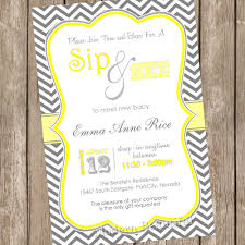neutral grey and yellow chevron sip and see baby shower