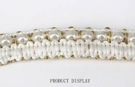 gold lace ribbon online shop beaded pearl white gold trimming lace ribbon trim