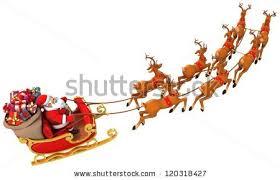 santa sleigh and reindeer santa claus rides reindeer sleigh on stock illustration 120318427