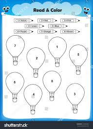 worksheet color balloons according numbers worksheet stock vector