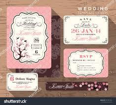 Wedding Invitation Response Card Vintage Wedding Invitation Set Design Template Stock Vector