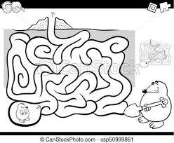 clip art vector maze activity coloring book wit mole animal