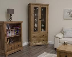 Oak Furniture Uk Rustic Deluxe Oak Rustic Deluxe 2 Door Glazed Display Cabinet