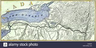 Map New York State by Map Of The Erie Canal Across New York State 1800s Stock Photo