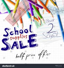 back school supplies sale great discount stock vector 679870348