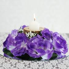 purple roses for sale 24 artificial roses flowers candle rings centerpieces wedding