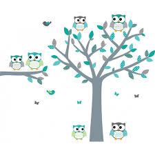 teal owl wall decals with tree decals for boys bedrooms teal owl wall stickers with tree wall stickers for boys bedrooms