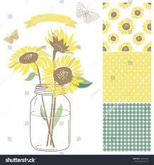 sunflower ribbon glass jar sunflowers ribbon butterflies stock vector