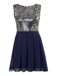 tfnc london multi sequin fit and flare dress in blue lyst