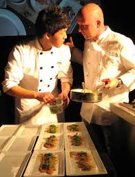 sous chef cuisine chef stefan ritcher with his sous chef plating gayot s