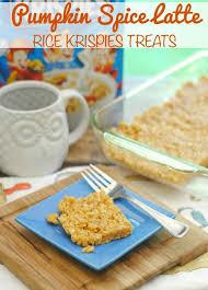 Rice Crispy Treat Pumpkins Pumpkin Spice Latte Rice Krispies Treats This Mama Loves