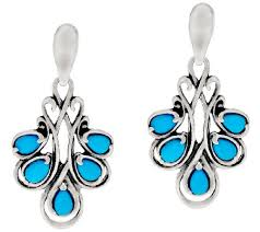 turquoise drop earrings carolyn pollack sleeping beauty turquoise sterling silver drop
