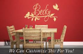 custom name wall decor decal with birds branch and leaves in a quick view