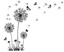 butterfly flying in dandelion bedroom living room stickers style