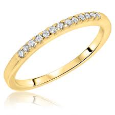 womens wedding ring 1 carat diamond trio wedding ring set 10k yellow gold