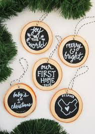 diy handmade ornaments with wood slices the sweetest digs