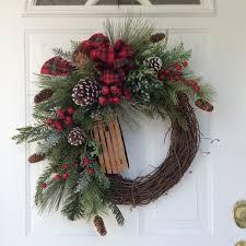 holiday wreath winter wreath christmas wreath wooden sleigh wreath