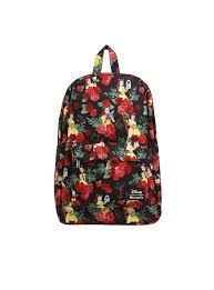 loungefly disney beauty beast belle rose print backpack