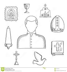 priest and religious icons or symbols sketch stock vector image