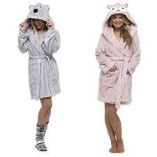 foxbury plush ladies hooded bathrobe pink grey womens dressing