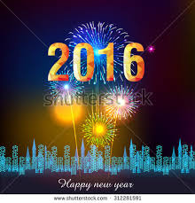 happy new year fireworks 2016 stock vector 312281573