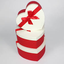 wedding ribbon cardboard paper heart shape gift box with ribbon for