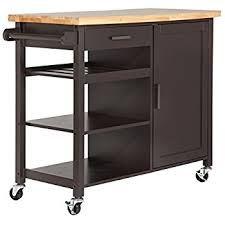 Rubberwood Kitchen Cabinets Amazon Com Homegear Utility Kitchen Storage Cart Island With