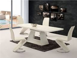 Black Gloss Dining Room Furniture Ga Silvano Extending White Gloss 160 220cm Dining Table Luciano Chairs