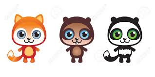 set of thee cute funny baby animals royalty free cliparts vectors