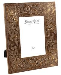 handmade picture frame in mdf with leafy u0026 floral motifs in brass