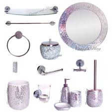 Silver Bathroom Decor by New Crackle Glass Bathroom Accessories Silver Sparkle Mirror